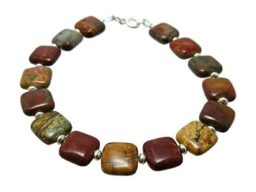 Browns, Golds, Burgundy Picasso Jasper Squares & Sterling Silver Beads Bracelet